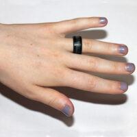 Zwart blauwe drie-laags brede ring